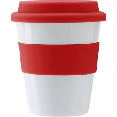 Picture of PLASTIC 350ML DRINK MUG in Red
