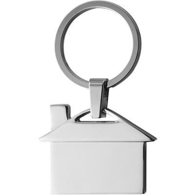 Picture of HOUSE SHAPE METAL KEYRING in Black Gift Box
