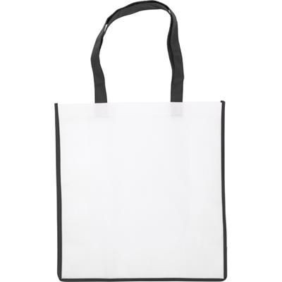 Picture of NON WOVEN SHOPPER TOTE BAG in White with Coloured Trim in Black