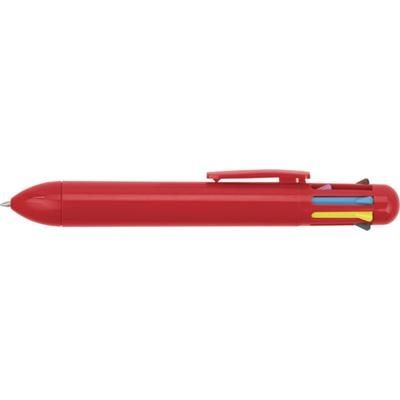 Picture of EIGHT COLOUR PLASTIC BALL PEN in Red