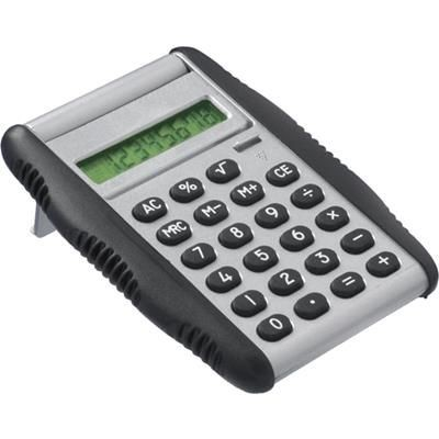 Picture of POCKET AUTO OPEN CALCULATOR in Silver with Black Rubber Trim
