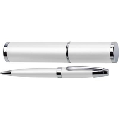 Picture of METAL BALL PEN & MATCHING TUBE in White