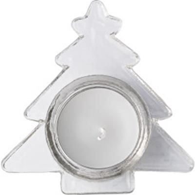 Picture of GLASS CHRISTMAS TREE SHAPE CANDLE HOLDER with White Candle