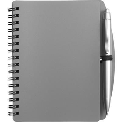 Picture of A6 SPIRAL WIRO BOUND NOTE BOOK & BALL PEN in Grey
