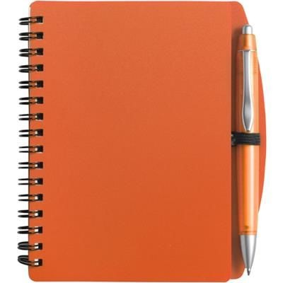 Picture of A6 SPIRAL WIRO BOUND NOTE BOOK & BALL PEN in Orange