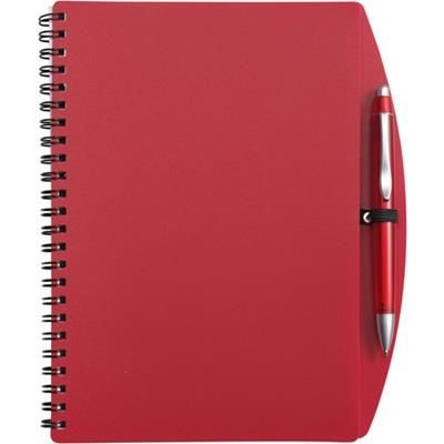 Picture of A5 SPIRAL WIRO BOUND NOTE BOOK & BALL PEN in Red