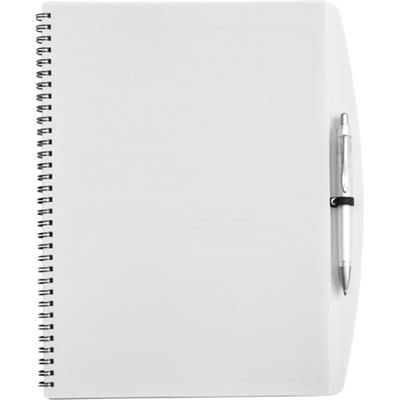 Picture of A4 SPIRAL WIRO BOUND NOTE BOOK & BALL PEN in White