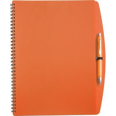 Picture of A4 SPIRAL WIRO BOUND NOTE BOOK & BALL PEN in Orange