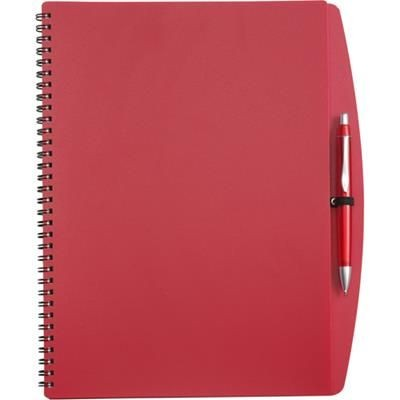 Picture of A4 SPIRAL WIRO BOUND NOTE BOOK & BALL PEN in Red