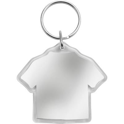 Picture of TEE SHIRT SHAPE PLASTIC KEYRING in Translucent Clear Transparent