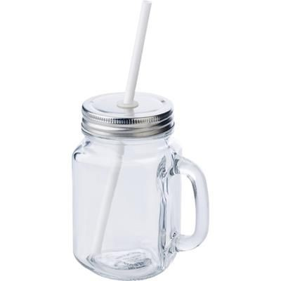 Picture of GLASS MASON DRINK JAR with Handle