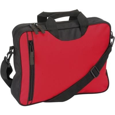 Picture of DOCUMENT BAG with Front Vertical Zip in Red