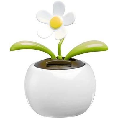 Picture of SOLAR POWER PLASTIC FLOWER in White