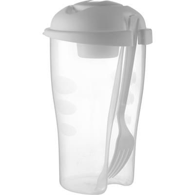 Picture of SALAD CONTAINER in White includes Small Cup & Fork