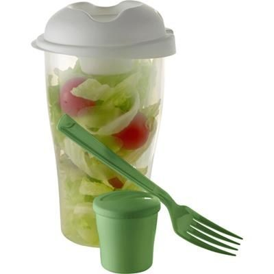 Picture of SALAD CONTAINER in Pale Green includes Small Cup & Fork