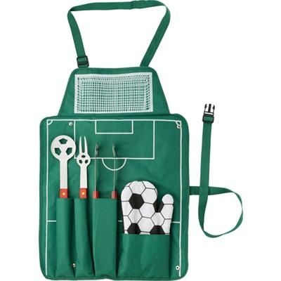 Picture of 5PC FOOTBALL BBQ SET with Green Apron includes Spatula, Fork, Tongs with Wood Handles & Oven Mitten
