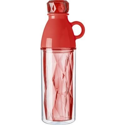 Picture of PLASTIC 500ML GEOMETRIC STYLE DOUBLE WALLED BOTTLE in Red