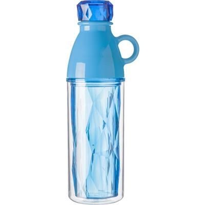 Picture of PLASTIC 500ML GEOMETRIC STYLE DOUBLE WALLED BOTTLE in Pale Blue