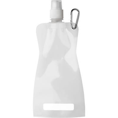 Picture of FOLDABLE TRANSUCENT PLASTIC WATER BOTTLE with Belt Clip in White