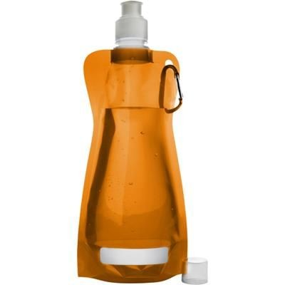 Picture of FOLDABLE TRANSUCENT PLASTIC WATER BOTTLE with Belt Clip in Orange