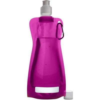 Picture of FOLDABLE TRANSUCENT PLASTIC WATER BOTTLE with Belt Clip in Pink