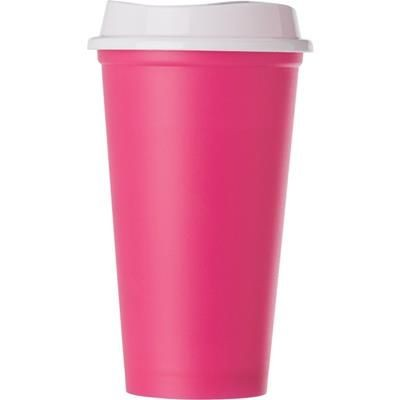 Picture of POLYPROPYLENE 520ML CAPACITY CUP with Lid in Pink