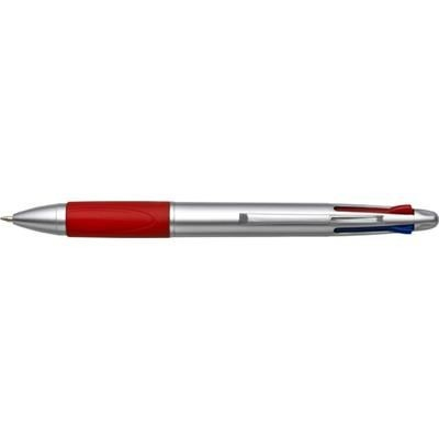 Picture of MULTI FUNCTION BALL PEN in Silver & Red