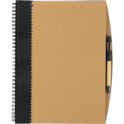 Picture of RECYCLED CARDBOARD CARD NOTE BOOK with Pen