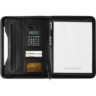 Picture of CHARLES DICKENS A4 ZIP AROUND CONFERENCE FOLDER in Black Bonded Leather includes 8 Digit Calculator