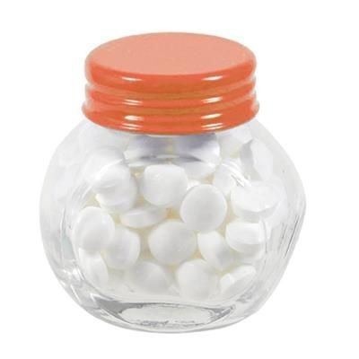 Picture of SMALL GLASS JAR with 40g of Mints in Orange