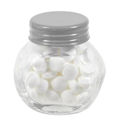 Picture of SMALL GLASS JAR with 40g of Mints in Silver