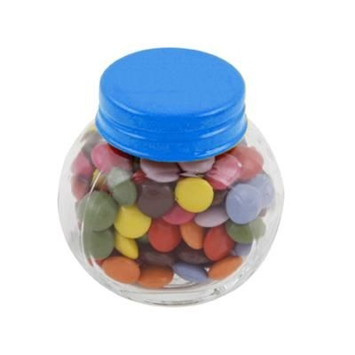 Picture of SMALL GLASS JAR with 30g of Chocs in Light Blue