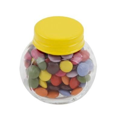 Picture of SMALL GLASS JAR with 30g of Chocs in Yellow