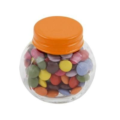 Picture of SMALL GLASS JAR with 30g of Chocs in Orange