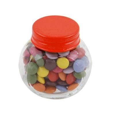Picture of SMALL GLASS JAR with 30g of Chocs in Red