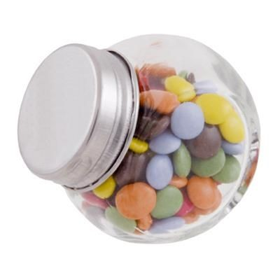 Picture of SMALL GLASS JAR with 30g of Chocs in Silver