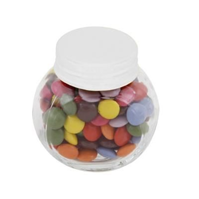 Picture of SMALL GLASS JAR with 30g of Chocs in White