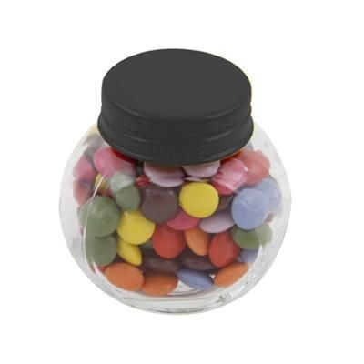 Picture of SMALL GLASS JAR with 30g of Chocs in Black