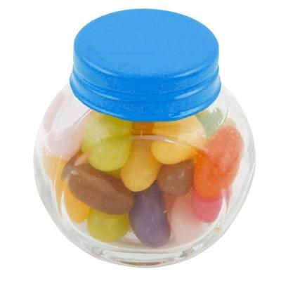Picture of SMALL GLASS JAR with 40g of Jelly Beans in Light Blue