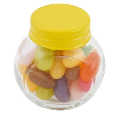 Picture of SMALL GLASS JAR with 40g of Jelly Beans in Yellow