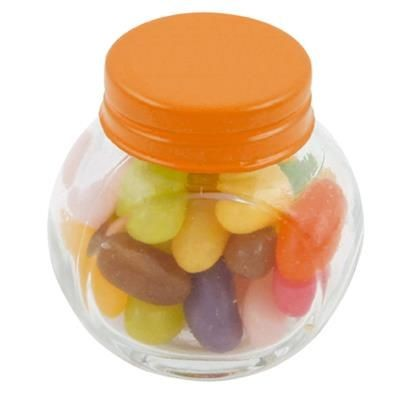 Picture of SMALL GLASS JAR with 40g of Jelly Beans in Orange