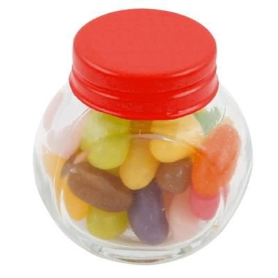 Picture of SMALL GLASS JAR with 40g of Jelly Beans in Red