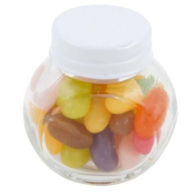 Picture of SMALL GLASS JAR with 40g of Jelly Beans in White