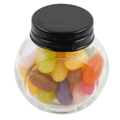 Picture of SMALL GLASS JAR with 40g of Jelly Beans in Black