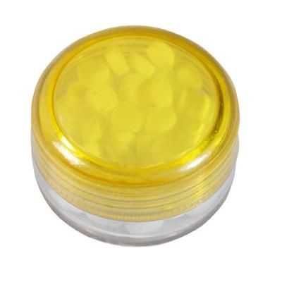 Picture of ROUND PLASTIC CONTAINER with 12g of Mints in Yellow