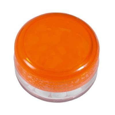 Picture of ROUND PLASTIC CONTAINER with 12g of Mints in Orange