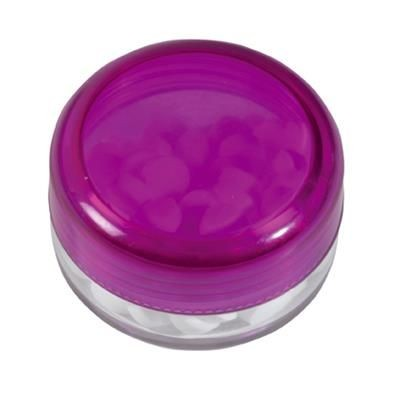 Picture of ROUND PLASTIC CONTAINER with 12g of Mints in Purple