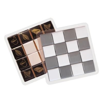 Picture of CLEAR TRANSPARENT PLASTIC SELF LOCKING BOX with 16x5g Belgian Chocolate