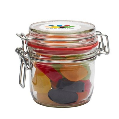 Picture of 255ML & 490GR GLASS JAR FILLED with Wine Gums