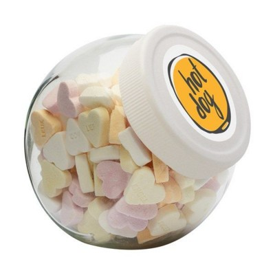 Picture of 395ML & 505GR CANDY JAR with White Plastic Lid & Filled with Sugar Hearts